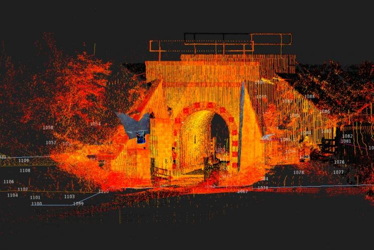 This laser scan has allowed us to monitor the movement in this bridge